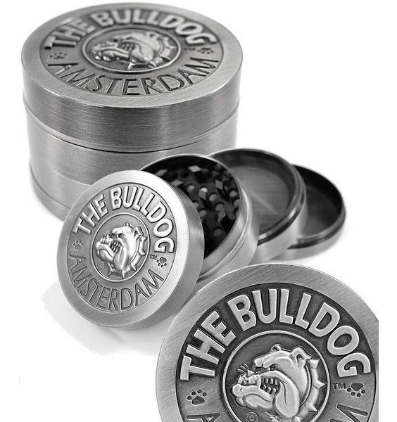 Grinder o moledor Bulldog Metálico Silver 4 Partes – The Bulldogs Amsterdam.