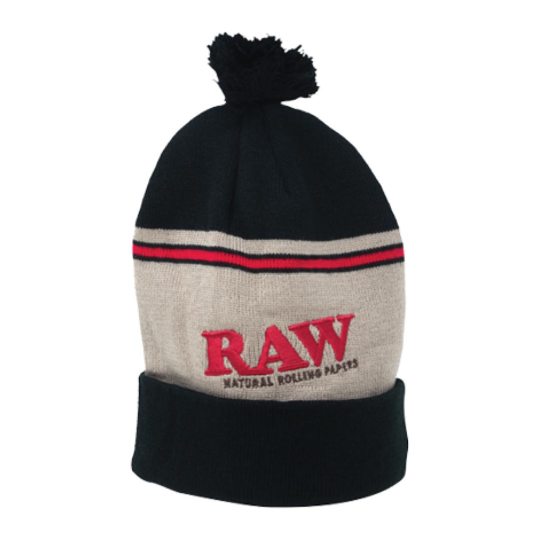 Gorra lana con pompón  RAW negro con marron